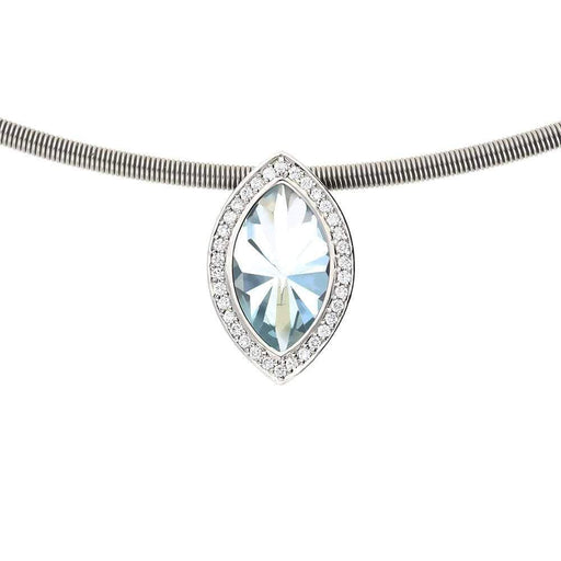 Henrich & Denzel Necklace Platinum Aquamarine with Diamonds Neckwire