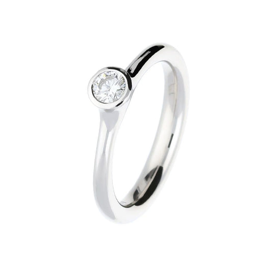 Henrich & Denzel Ring Platinum brilliant Diamond rubover ring