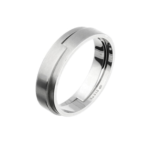 Henrich & Denzel Ring Platinum jigsaw styled stepped pattern wedding band