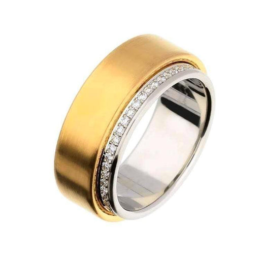Henrich & Denzel Ring Rose gold & Platinum Diamond edged band