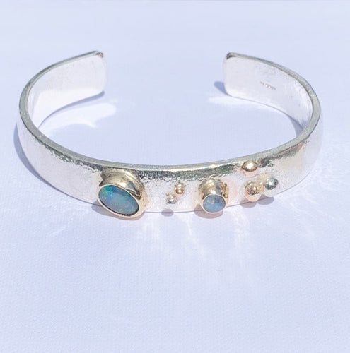 Sally Ratcliffe Silver gold Opal chunky pebble bangle