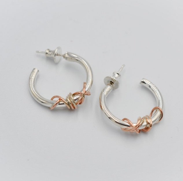 Sally Ratcliffe Silver and rose gold wire wrapped hoop earrings