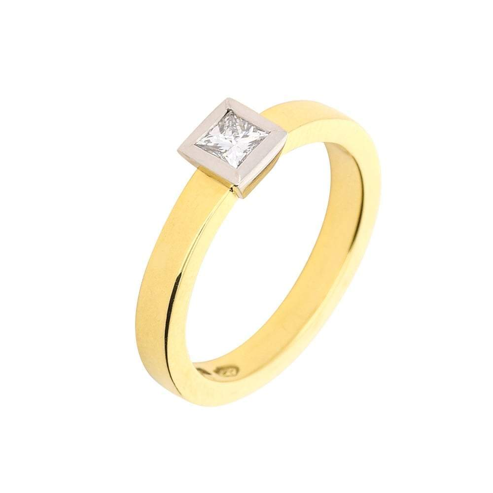 Jeremy Hoye Ring Jeremy Hoye 18ct gold and platinum princess cut diamond ring