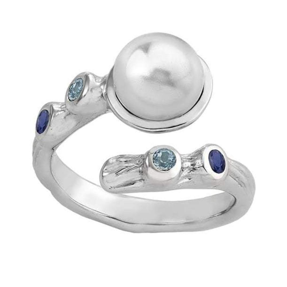 Jorge Revilla Ring Jorge Revilla silver cross over pearl and sapphire ocean ring