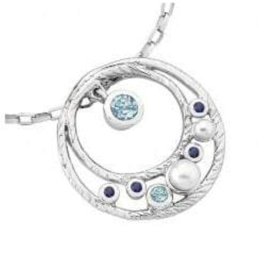 Jorge Revilla Ring Jorge Revilla Silver pearl ocean disc  pendant with sapphires and blue topaz