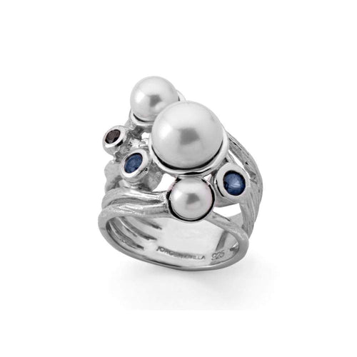 Jorge Revilla Ring Jorge Revilla Silver Pearl sapphire large ocean ring