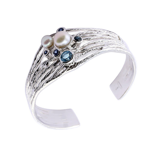 Jorge Revilla Bangle Jorge Revilla Silver Pearl Sapphire Ocean bangle