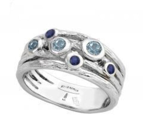 Ring Jorge Revilla Silver blue topaz and sapphire ring