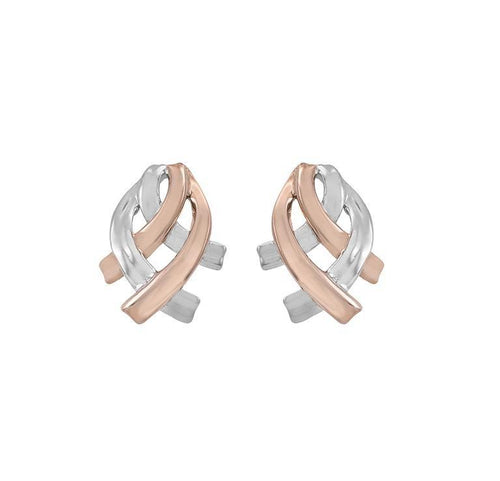 Earrings Jorge Revilla Silver rose gold woven scarf stud earrings