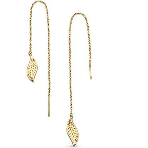 Kit Heath gold plated Silver blossom leaf chain drop earrings