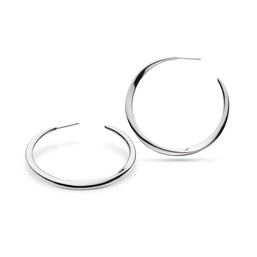 Kit Heath Earrings Kit Heath Silver bevel curve large hoop earrings