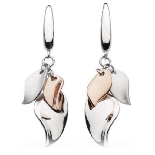 Earrings Kit Heath Silver and Rose gold plate enchanted leaf cluster hook earrings