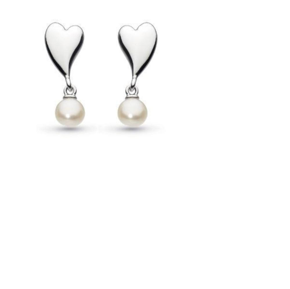 Earrings Kit Heath Silver desire kiss crush heart pearl drop earrings