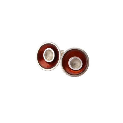 Kokkino Earrings Kokkino Silver cherry and pearl small enamelled target stud earrings
