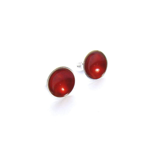 Kokkino Earrings Kokkino Silver cherry enamel large target studs