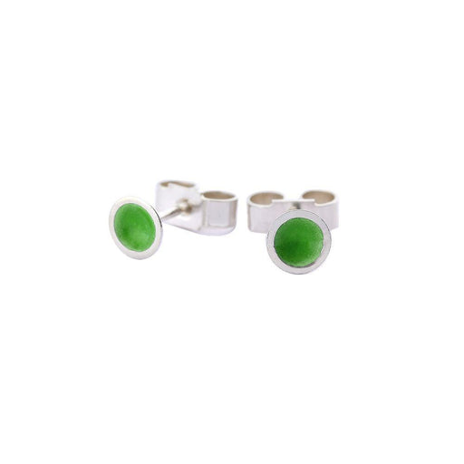 Kokkino Earrings Kokkino Silver grass small enamelled target studs