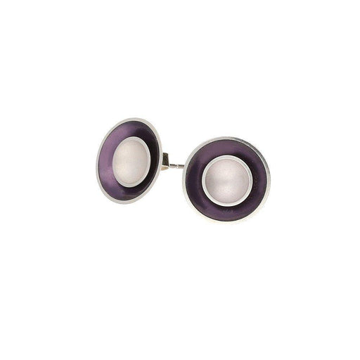 Kokkino Earrings Kokkino Silver lilac enamelled large layered target studs