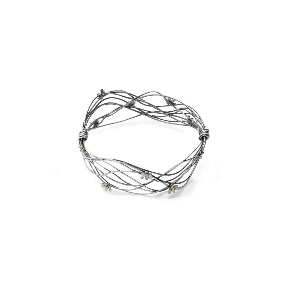 Linda Macdonald Bangle Linda Macdonald oxidised Silver gold scribbles bangle