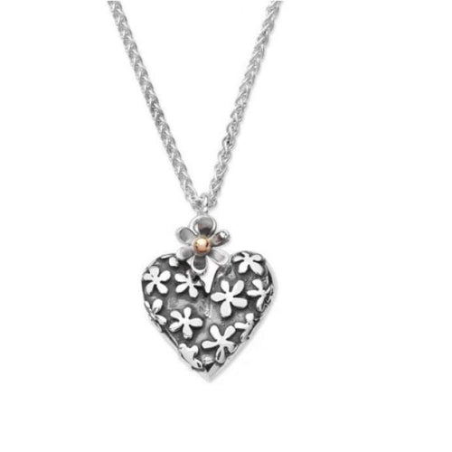 Linda Macdonald Pendant Linda Macdonald Silver 9ct hearts and flowers pendant