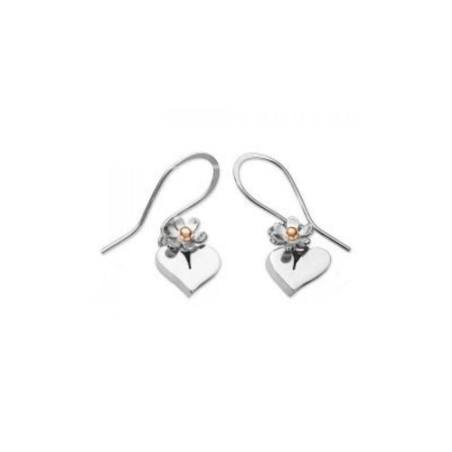Linda Macdonald Earrings Linda Macdonald Silver 9ct hearts/flowers hooks