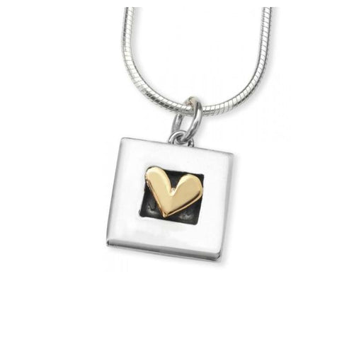 Linda Macdonald Pendant Linda Macdonald Silver and 9ct framed heart petite pendant