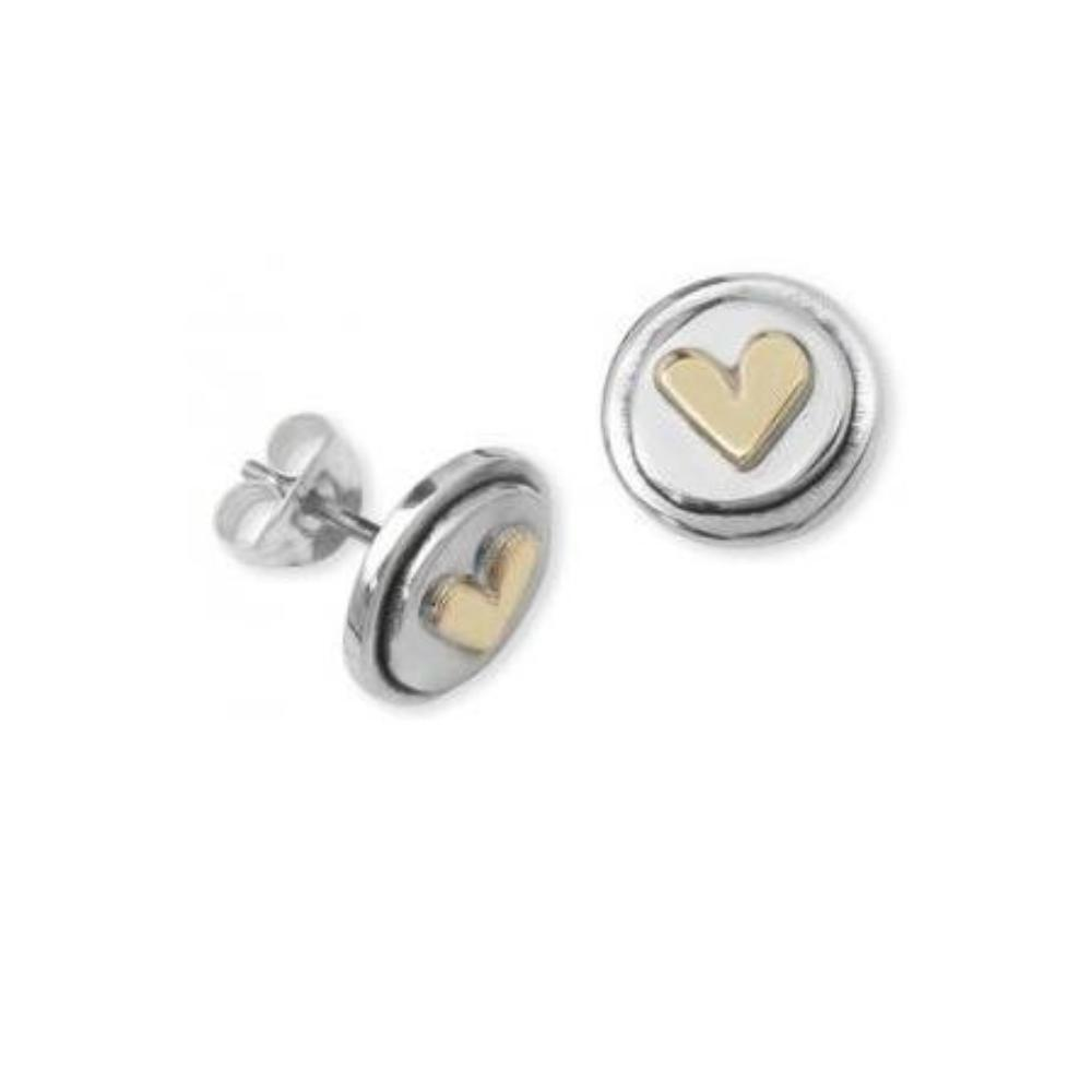 Linda Macdonald Earrings Linda Macdonald Silver and 9ct petite heart stud earrings