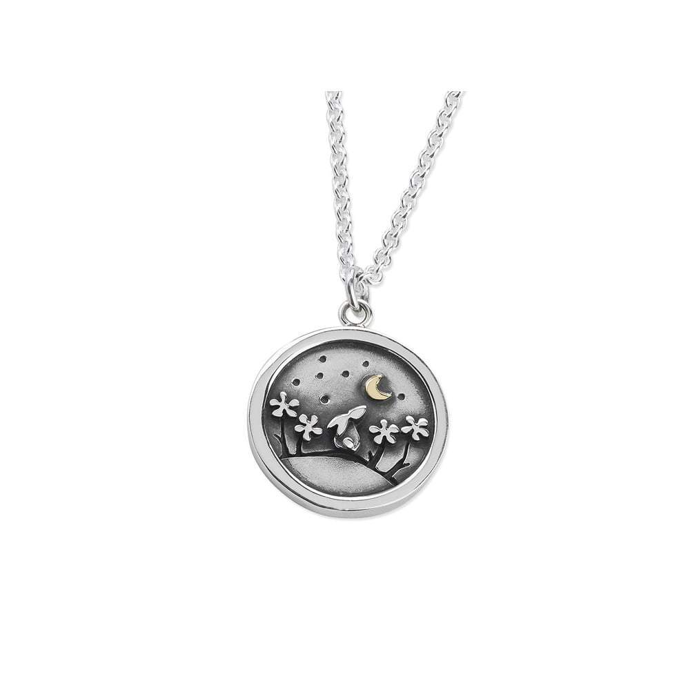 Linda Macdonald Pendant Linda Macdonald Silver and gold lucky penny bunny and cresent moon pendant