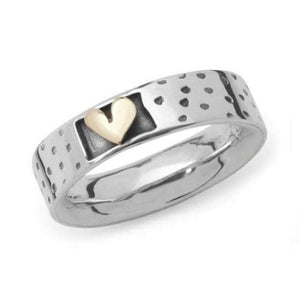 Linda Macdonald Ring Linda Macdonald Silver gold dotty heart ring