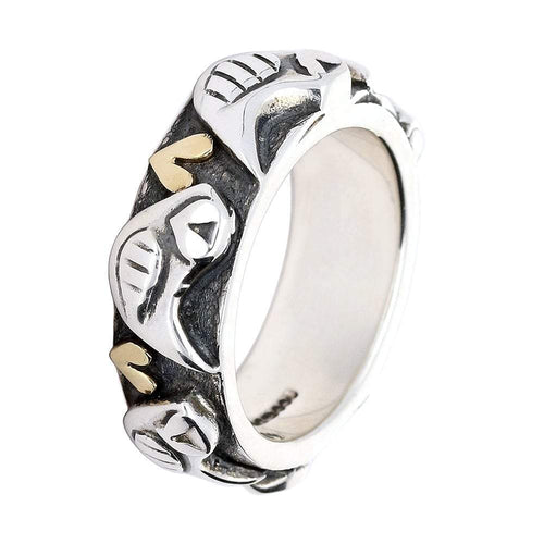 Linda Macdonald Ring Linda Macdonald Silver gold happy bird ring