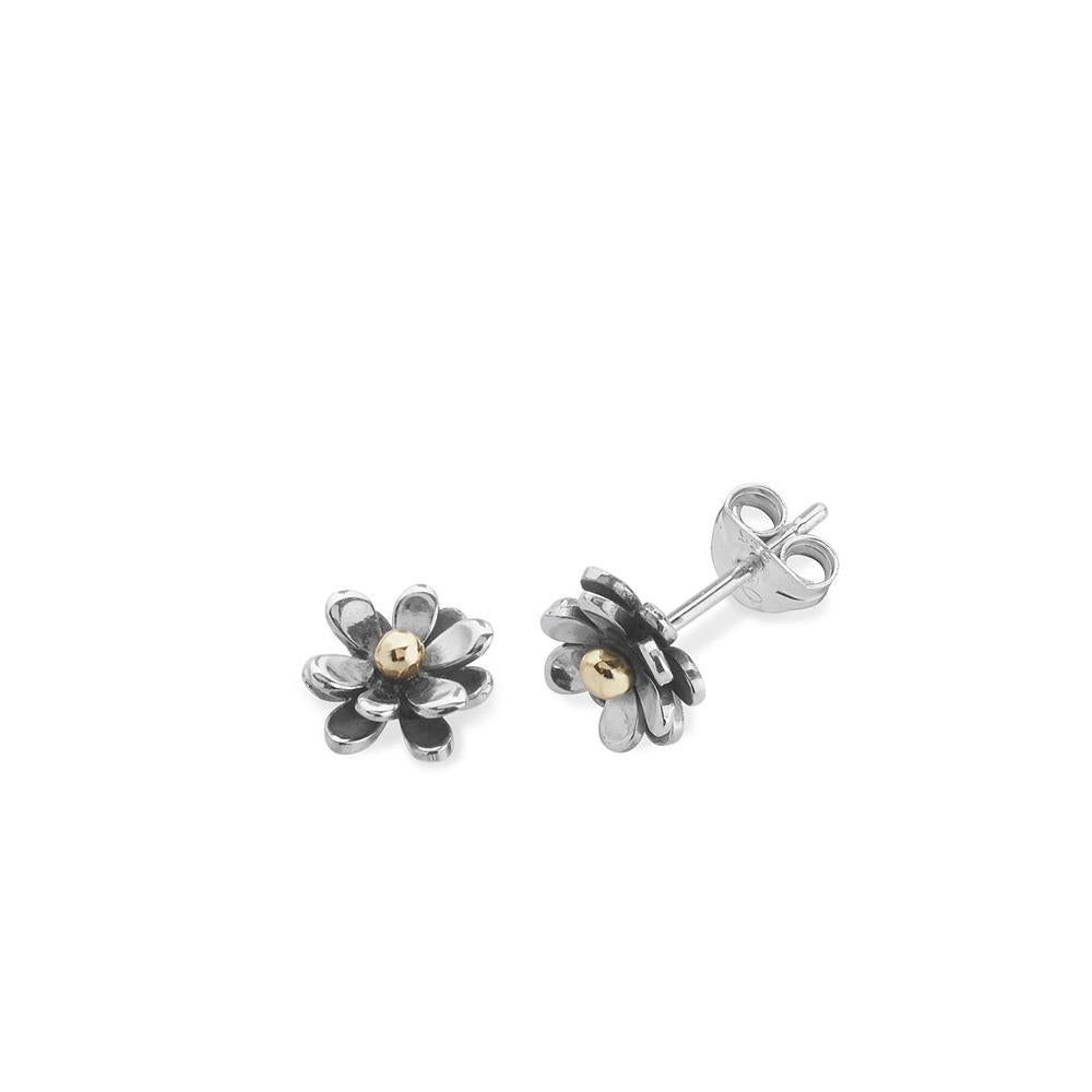 Linda Macdonald Earrings Linda Macdonald Silver gold lucky penny flower studs