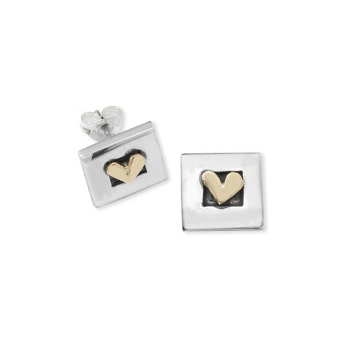 Linda Macdonald Earrings Linda Macdonald Silver gold petite heart studs