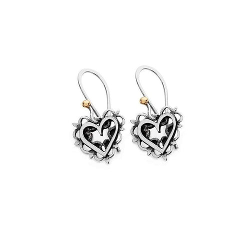 Linda Macdonald Earrings Linda Macdonald Silver gold romance heart hook earrings