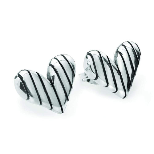 Linda Macdonald Earrings Linda Macdonald Silver stripey heart studs