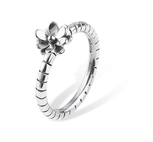 Ring Linda Macdonald Silver stripey band flower ring