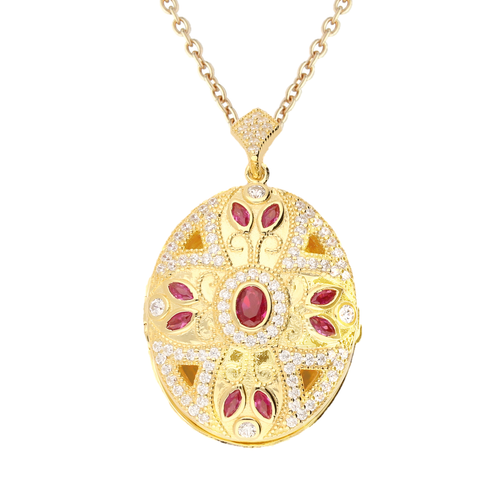 Lola Locket Locket Lola Locket gold red Zuri locket