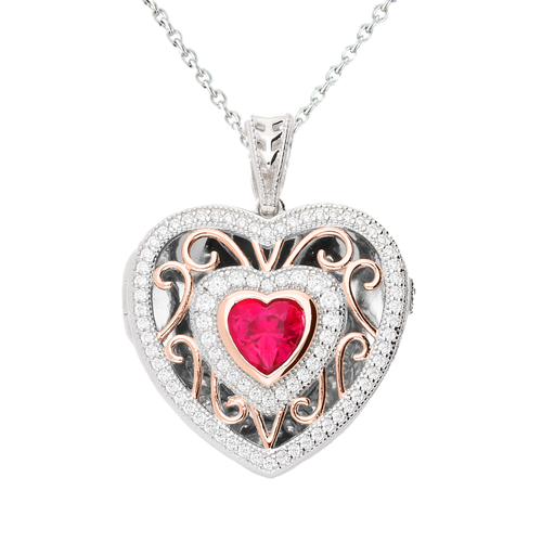 Lola Locket Locket Lola Locket Silver and rose gold Rosie heart locket