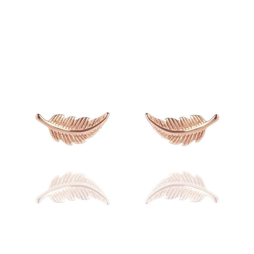 Muru Earrings Muru rose gold plated Silver feather stud earrings