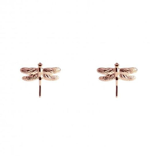 Earrings Muru rose gold plated Silver dragonfly studs