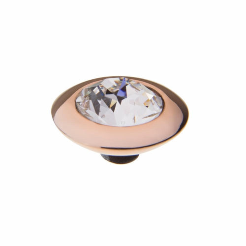 Qudo Composable Rings Ring Qudo rose gold plated Steel clear swarovski 13mm tondo ring top