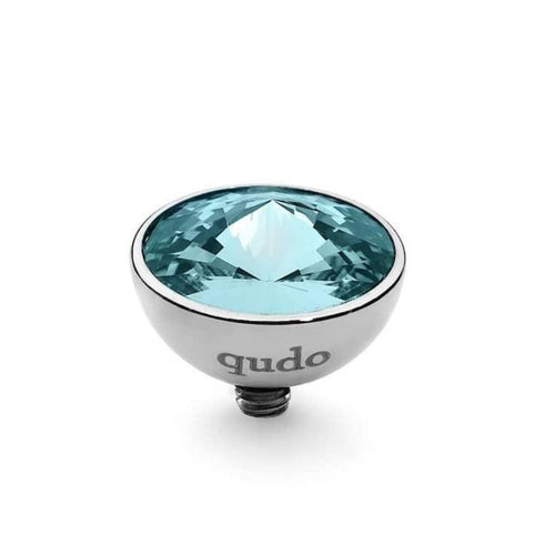 Qudo Composable Rings Ring Qudo Steel and light turquoise swarovski 11.5mm bottone ring top