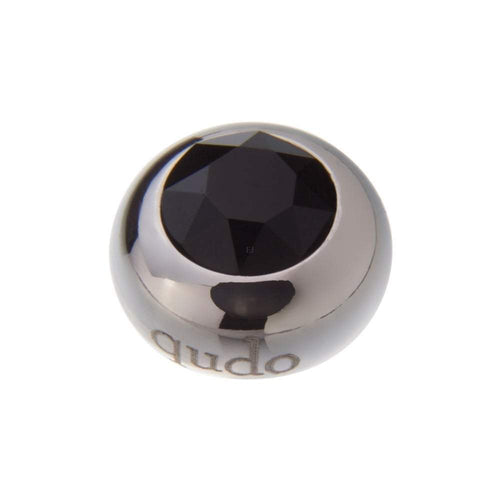 Qudo Composable Rings Ring Qudo Steel jet swarovski 10mm tondo ring top