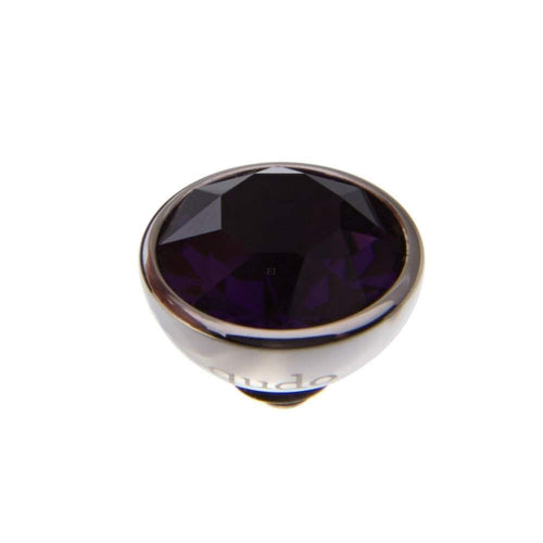 Qudo Composable Rings Ring Qudo Steel purple velvet swarovski 10mm bottone ring top.
