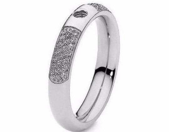 Qudo Composable Rings Ring 50 Qudo Steel slim deluxe interchangable ring band with cubic zirconia