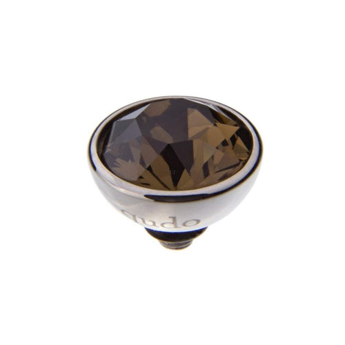 Qudo Composable Rings Ring Qudo Steel smokey quartz swarovski 10mm bottone ring top