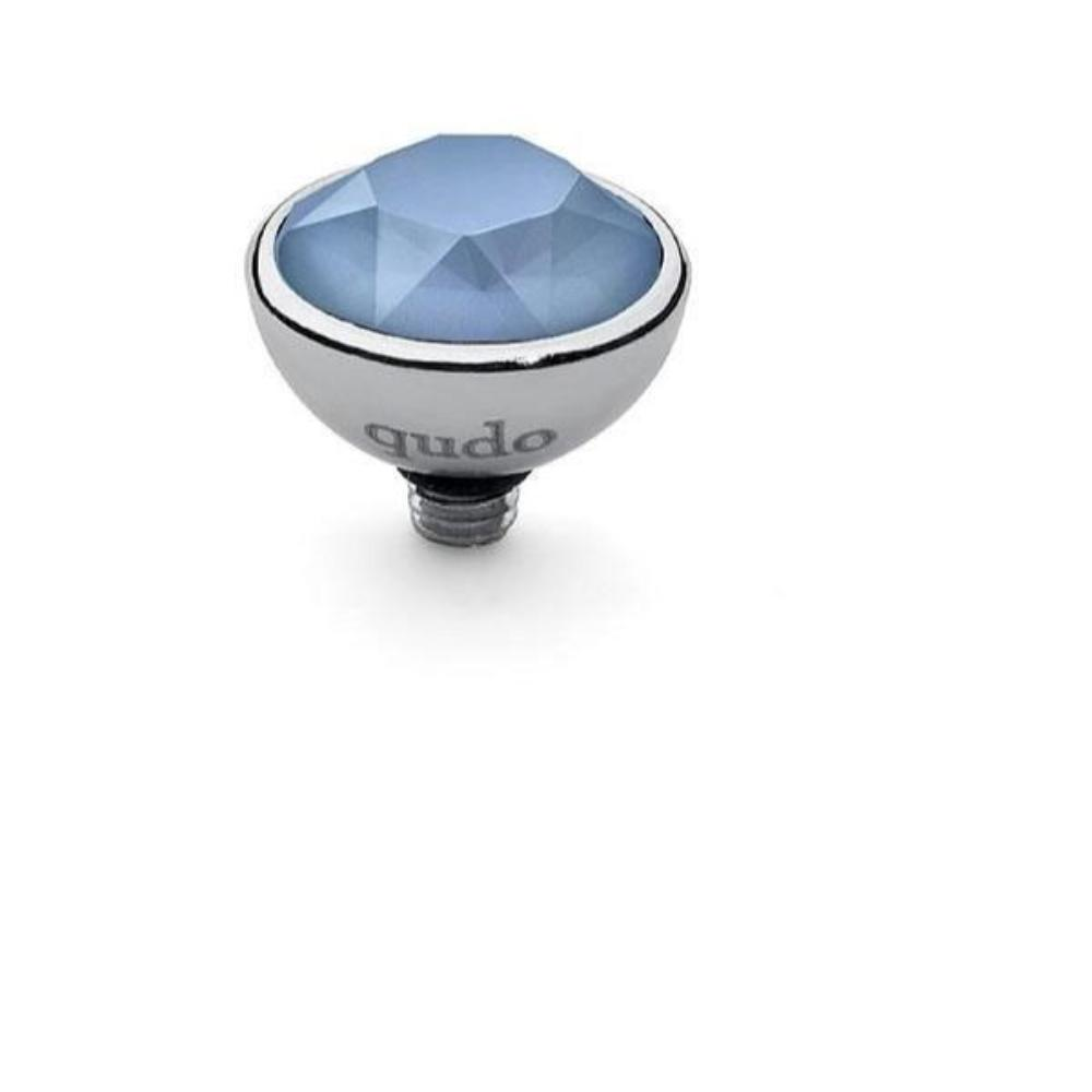 Ring Topper Qudo Steel and summer blue swarovski 10mm bottone ring top