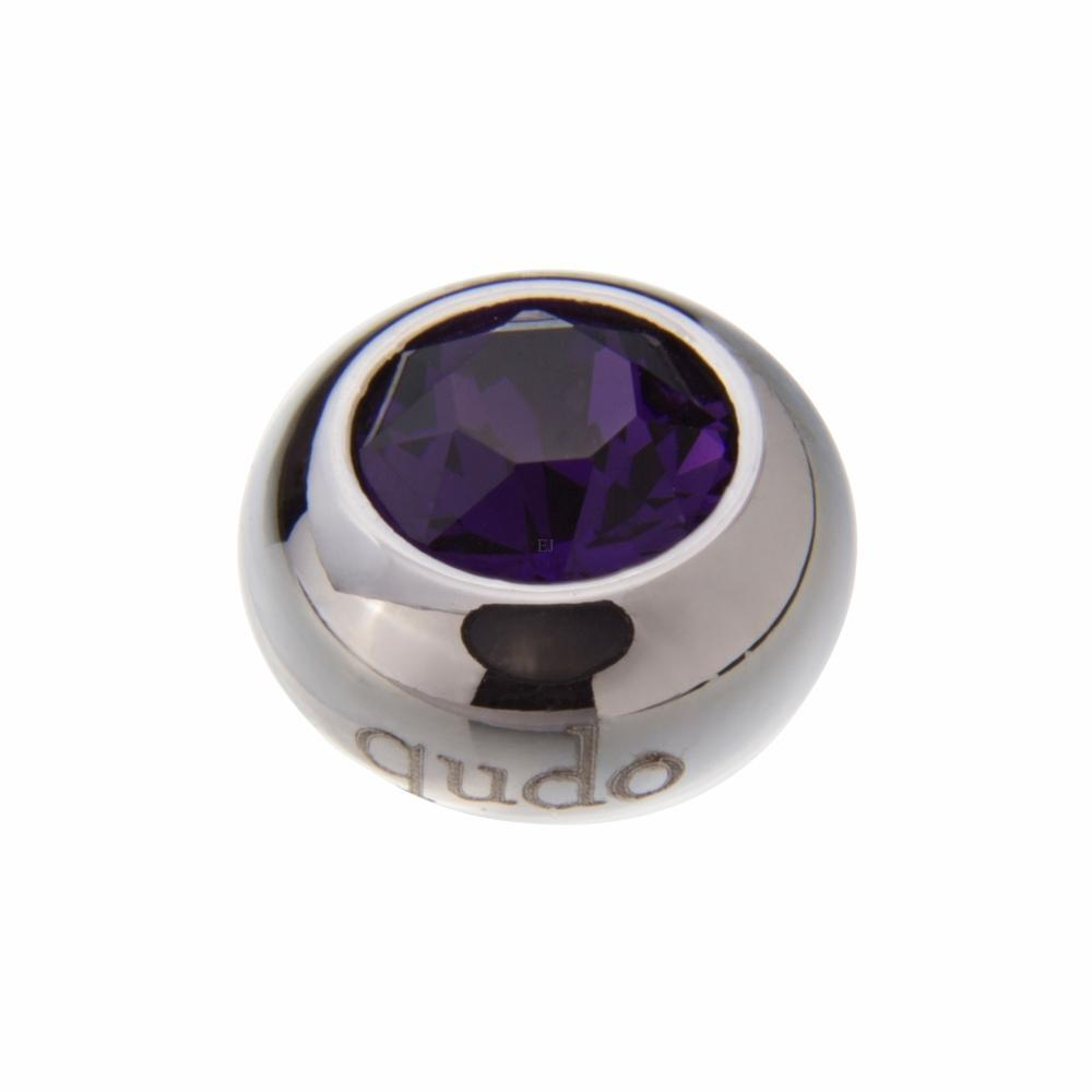 Ring Qudo Steel puple velvet swarovski 10mm tondo ring top