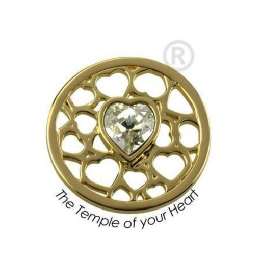 Quoins Coin Quions gold plated Steel, swarovski temple of your heart quoin
