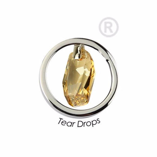 Quoins Coin Quoins steel and swarovski golden teardrop small quoin