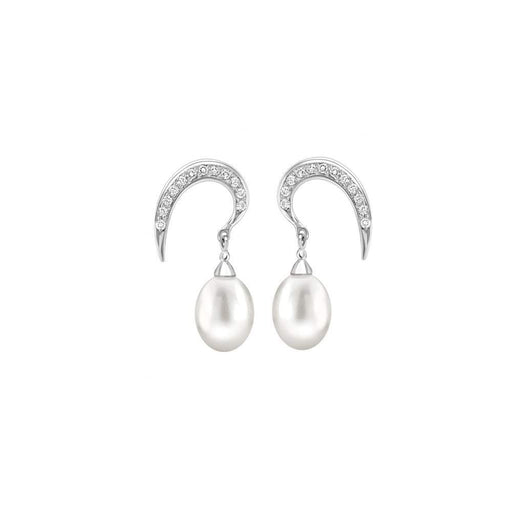 Rachel Galley Earrings Rachel Galley Silver Cubic Zirconia pearl snowdrop earrings