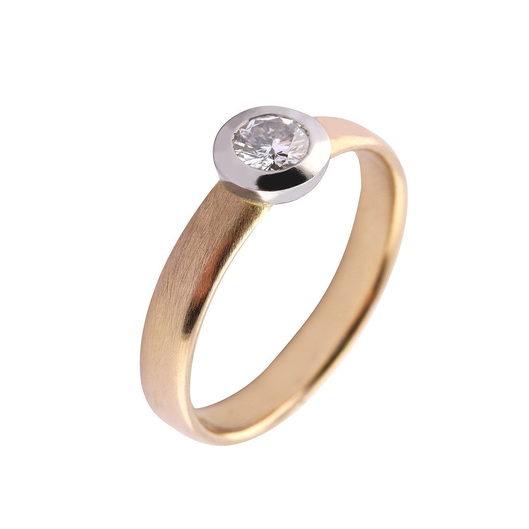 Rock Lobster Ring 18ct rose gold and platinum brilliant cut 0.25ct diamond court ring
